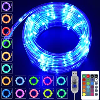 KNONEW 2 Pack LED Rope Lights, 16 Colors Changing 100 LED 33ft USB Powered Fairy Rope Light with Remote, Indoor Decorative...
