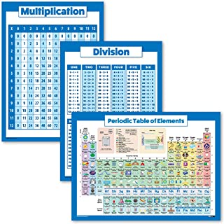 """3 Pack - Multiplication Table Poster + Division + Periodic Table of Elements Chart for Kids (Laminated, 18"""" x 24"""")"""