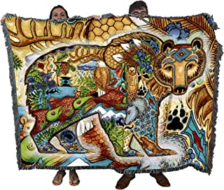 Grizzly Bear Blanket, Native American Style Colorful Animal Throw Blanket, Pacific Northwest Totem by Sue Coccia – Woven Bear Large Soft Comforting w/ Cotton Fringe (72x54) Made in USA