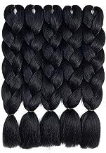 Ombre Kanekalon Braiding Hair 5 Pack Ombre Jumbo Braiding Hair Extensions 24 Inch Jumbo Braid Synthetic Hair for Braiding (5 Pack, Black)