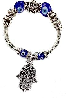 comprar comparacion Nazareth Store - Pulsera de mano de Fátima con cristales azules y cuentas contra el mal de ojo, judaísmo de Israel, amulet...