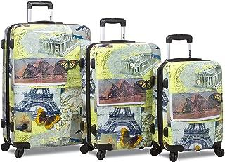City Stamping Lightweigt 3-pcs Expandable Hardshell Spinner Luggage Set
