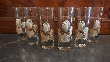 Servizio liquore da 6 dipinto a mano con applicazione in argento