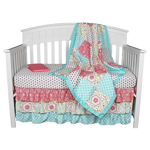 Aqua The Peanutshell Mosaic 3 Piece Crib Bedding Set Blue Grey Medium