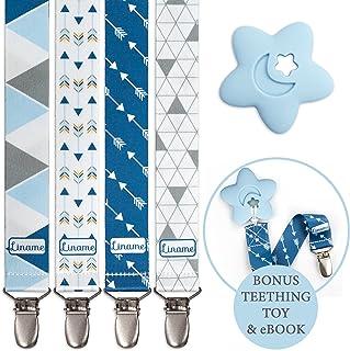 Liname emzik zinciri–4adet hediye kutusunda & Bonus diş kaşıyıcı–Premium kalite için evrensel Schnullerband Clip tüm emzik ve Ring–Modaya uygun tasarım