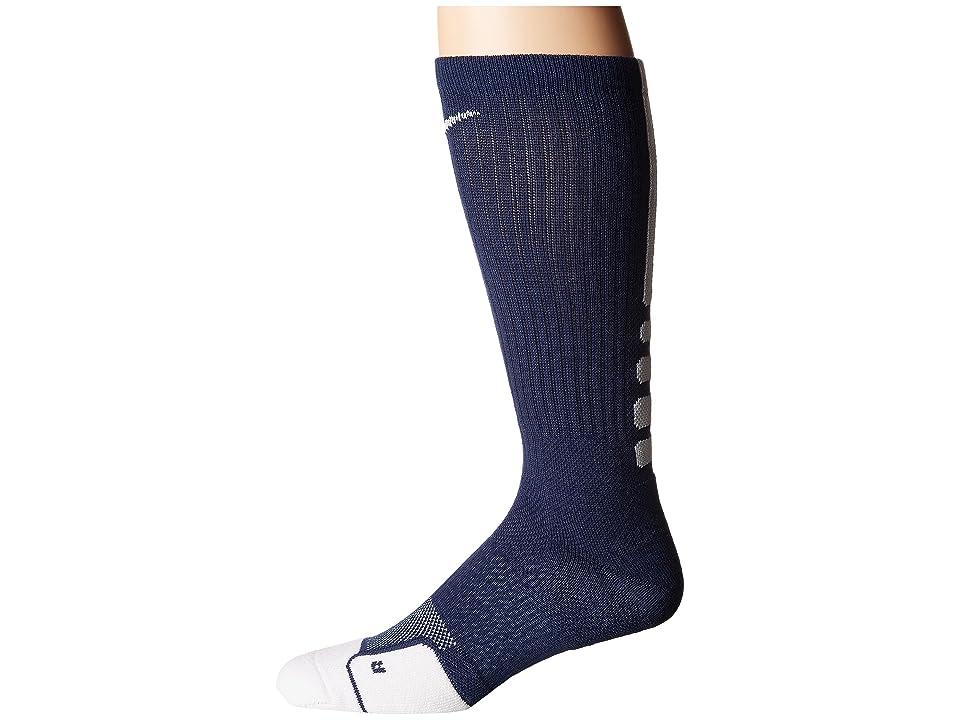 Nike Dry Elite 1.5 Crew Basketball Sock (Midnight Navy/White/White) Crew Cut Socks Shoes