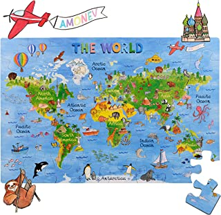 Amonev World Map Big Floor Puzzle with Thick Jigsaw Puzzle Pieces which can Also be Used on a Table are Great Floor Puzzles for Kids Ages 4-8 Years and Older