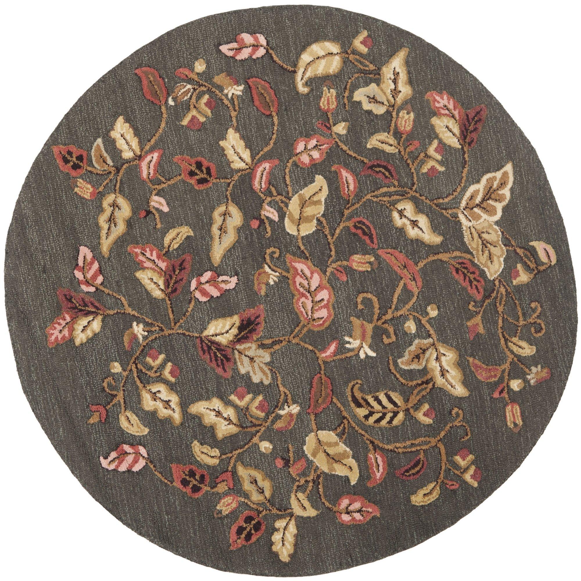 Safavieh Martha Stewart Collection Msr3611b Handmade Autumn Woods Wool Viscose Area Rug 6 X 6 Round Francesca Black Furniture Decor