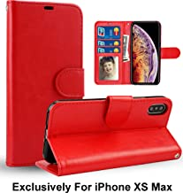 Pelotek; iPhone Xs Max Phone Case, iPhone Xs Max Red Wallet Case | Premium Quality Leather Case | Luxury Red Case | with Strap Card/ID Money Holders Slots | Durable Inner Case Red