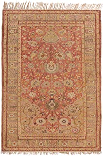 Antique Gordes Tea Green and Pink Wool Rug with Tree of Life Motifs