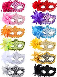 12 Pieces Half Mardi Gras Masquerade Mask Venetian Masks Set for Carnival Prom Ball Fancy Dress Party Supplies