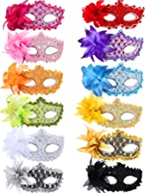 TOODOO 12 Pieces Half Mardi Gras Masquerade Mask Venetian Masks Set for Carnival Prom Ball Fancy Dress Party Supplies