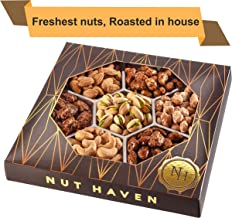 Holiday Nuts Gift Basket | Fresh Sweet & Salty Dry Roasted Gourmet Nuts | Fantastic Gift for Christmas, Birthday, Sympathy, Family, Men & Women | Variety of 7 Sweet & Salty Nuts Tray | Prime Delivery