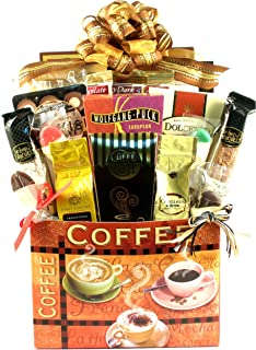 Gift Basket Village Village Caffe, Deluxe Coffee Lovers Gift Box with Four Coffees, Two Biscotti, Flavored Stirring Spoon...