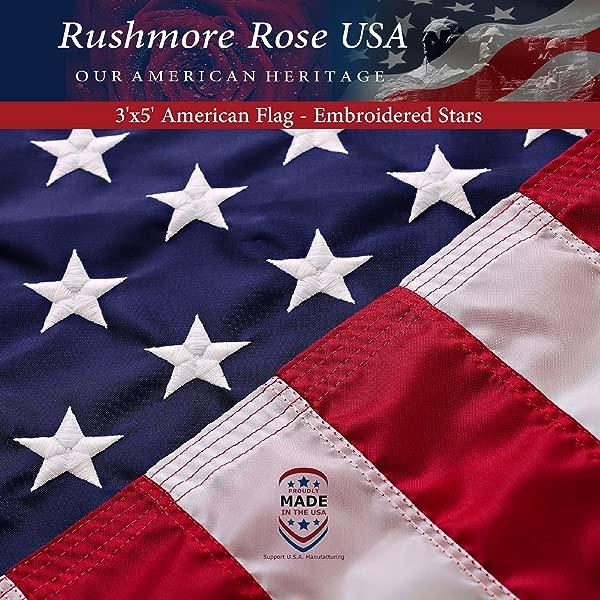 美国国旗美国制造高级 3x5 美国国旗刺绣星条旗美国制造