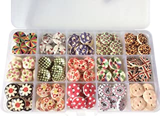 longshine-us 225pcs 15mm 15 Patterns 2 Hole Mixed buttons wooden flowers Round Sewing Craft Type Wood Floral Buttons Accessories Sewing with Free Plastic Box for DIY Handmade Craft