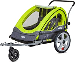 Instep Quick-N-EZ Double Seat Foldable Tow Behind Bike Trailers, Converts to Stroller/Jogger, Featuring 2-in-1 Canopy and 16-Inch Wheels, for Kids and Children, Multiple Colors Available