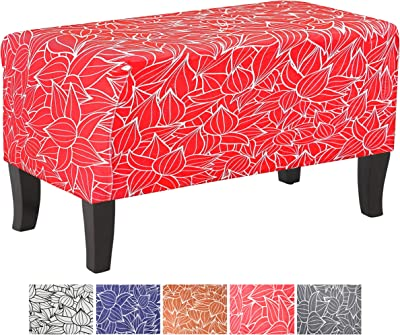 Humbil Ottoman Slipcover Large Polyester Stretch Fabric Furniture Chair Foot Rest Folding Storage for Ottoman Living Room Covers (Wine Red)