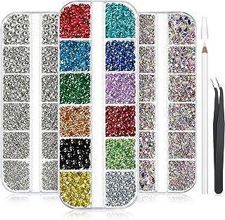 9000 Diamantes de Imitación de Arte de Uñas Pedrería de Diamantes de Uñas Cristal AB Gemas de Diamantes Planos Coloridos con Pluma de Diamantes de Imitación y Pinza para Decoarción, Tamaño Mixto