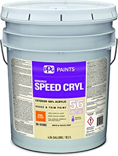 Acrylic Paint, White, Semi-Gloss, 5 gal, Speed Cryl, Exterior Paint for House and Trim
