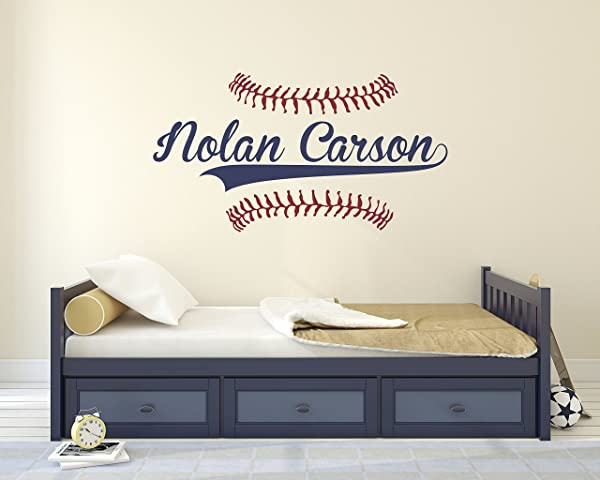 Personalized Name Baseball Wall Decal Bedroom Wall Decals Nursery Wall Decals Boys Baseball Art Vinyl Sticker