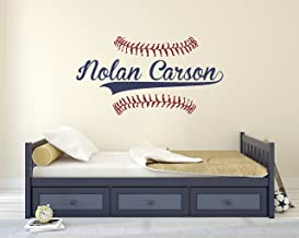 Personalized Name Baseball Wall Decal - Bedroom Wall Decals - Nursery Wall Decals - Boys Baseball Art Vinyl Sticker