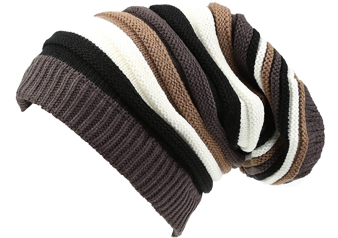 Sakkas CeeLo Long Tall Slouchy Unisex Striped Ribbed Kint Adjustable Beanie Hat