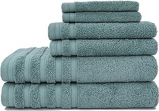 Baltic Linen Pure Elegance 100% Turkish Cotton Luxury Towels, 2 Bath Towels, 2 Hand Towels, 2 Washcloths, Smoke Blue, 6 Pi...