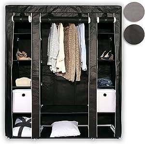 TRESKO® Stoffschrank 176 x 148 x 45 cm Faltschrank Kleiderschrank Textilschrank Campingschrank Garderobenschrank, mit 1 Kleiderstange und 12 Wasserdichten Einlegeböden (Schwarz)