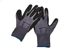 AmazonCommercial 13G Nylon & Nitrile Gloves (Grey/Black), Size XL, 12 pairs