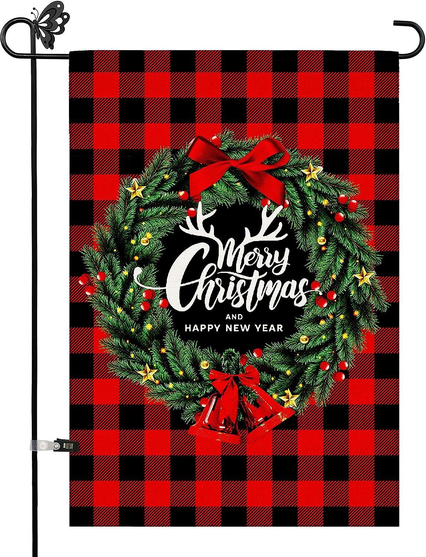 Utiginye Christmas Garden Flag,Merry Christmas Happy New Year Garden Flags 12x18 Inch Double Sided Vertical Burlap Garden Flag for Outside Garden Yard Flag Decor