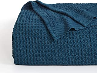 Bedsure 100% Cotton Thermal Blanket - 405GSM Soft Blanket in Waffle Weave for Home Decoration - Perfect for Layering Any Bed for All-Season - King Size (104 x 90 inches), Teal