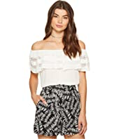 1.STATE - Off Shoulder Ruffle Top w/ Trim