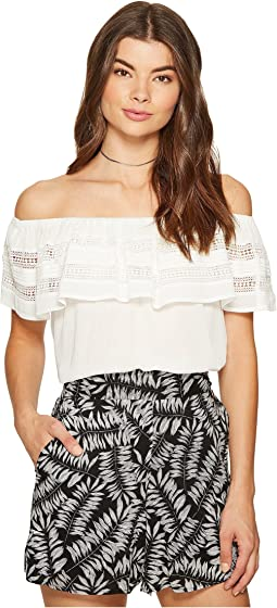 Off Shoulder Ruffle Top w/ Trim