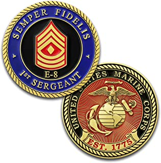 Marine Corps E8 Challenge Coin! USMC 1stSgt Rank Military Coin. First Sergeant Challenge Coin! Designed by Marines For Marines - Officially Licensed Product!