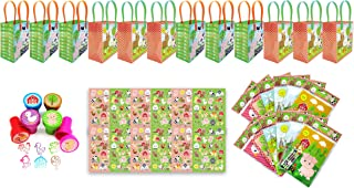TINYMILLS Farm Animals Birthday Party Favor Set of 60pcs (12 Treat Bags, 24 Stampers, 12 Sticker Sets, 12 Coloring Books with crayons)
