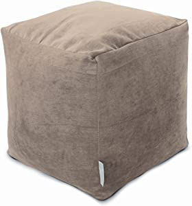 "Majestic Home Goods Pearl Villa Indoor Bean Bag Ottoman Pouf Cube 17"" L x 17"" W x 17"" H"