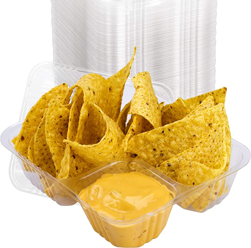 Anti Spill Plastic Nacho Tray 100 Pack By Avant Grub Disposable 2 Compartment Holder For Chips And Cheese Sauce Or Other Dips For Carnivals School Fairs Church Festivals Kids Parties And More