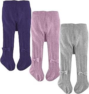 slaixiu Cotton Baby Girl Tights Cable Knit Seamless Toddler Leggings Pantyhose Pants Stockings 3-Pack