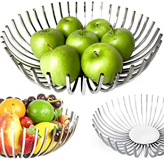 RESONARA Decorative Fruit Bowl Stainless Steel Fruit Basket for Kitchen Counter, Centerpiece Bowl for Dining Room Decor, Modern Kitchen Décor Fruit Stand, Coffee Table Décor, Fruit Holder Kitchen Gift