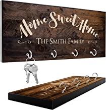 Personalized Key Holder for Wall with 12 Design, 3 Rich Wood Options   Housewarming Gift, Custom Key Ring Holder for Wall, Wedding Gifts for Couple - Newlywed Mr and Mrs Key Rack