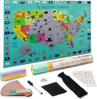 STEM Geo-Literacy USA Scratch-Off Map Learning Toy for Kids| Durable Plastic | National Parks, Flags | 64 Landmarks & Learning Cards, Stickers| Writable Surface, Marker | Gift-Ready Packaging
