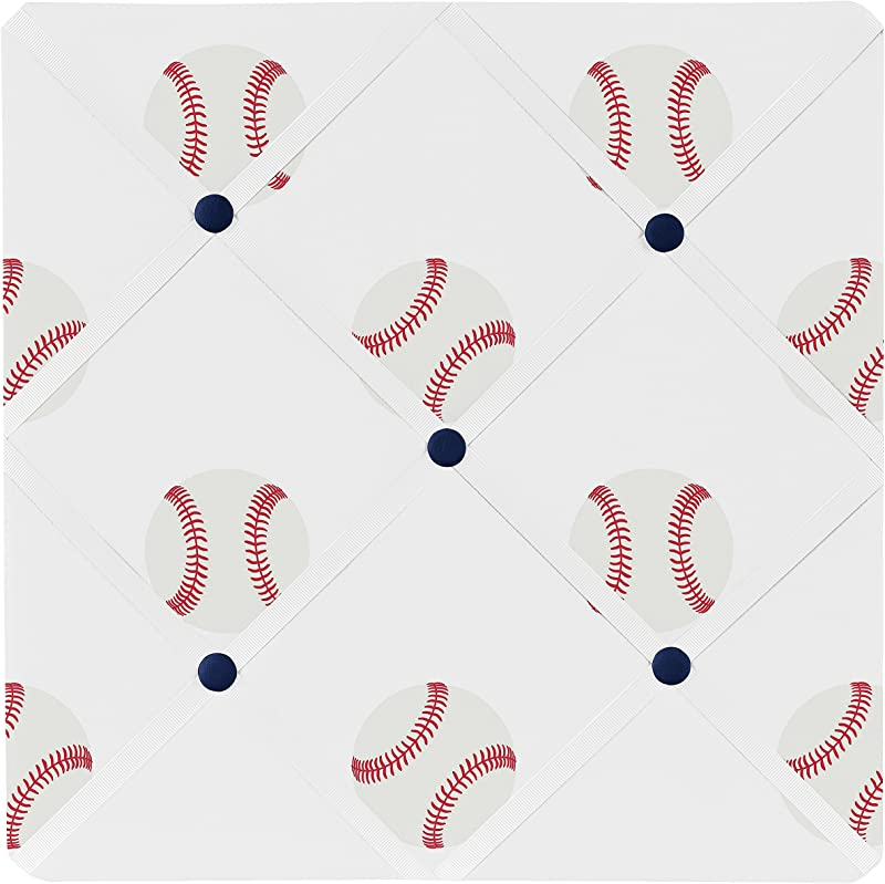 Sweet Jojo Designs Red White And Blue Fabric Memory Memo Photo Bulletin Board For Baseball Patch Sports Collection