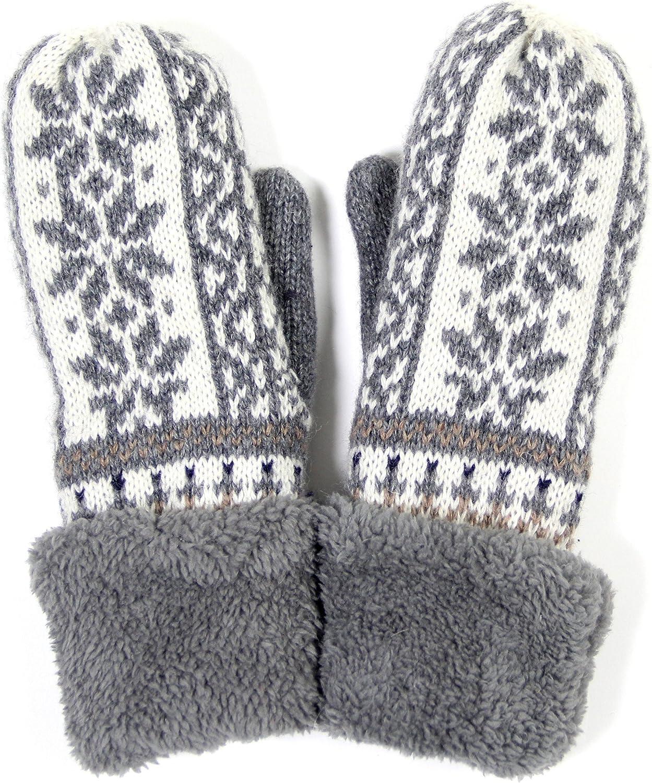 ScarvesMe Warm Fleece Inside Snow Flake Mitten Gloves