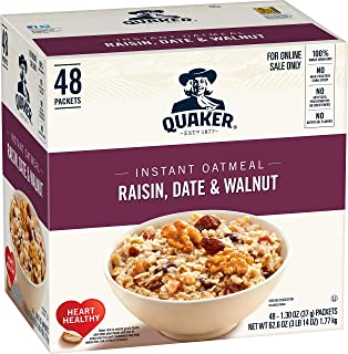 Quaker Instant Oatmeal, Raisin, Date and Walnut, Individual Packets, 48 Count