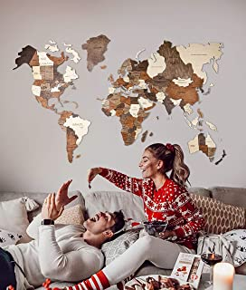 3D Wood World Map Wall Art Wall Decor Christmas with States Large Travel Wall Rustic Home decor Office Dorm Living room Interior design XL size Fathers Day Gift
