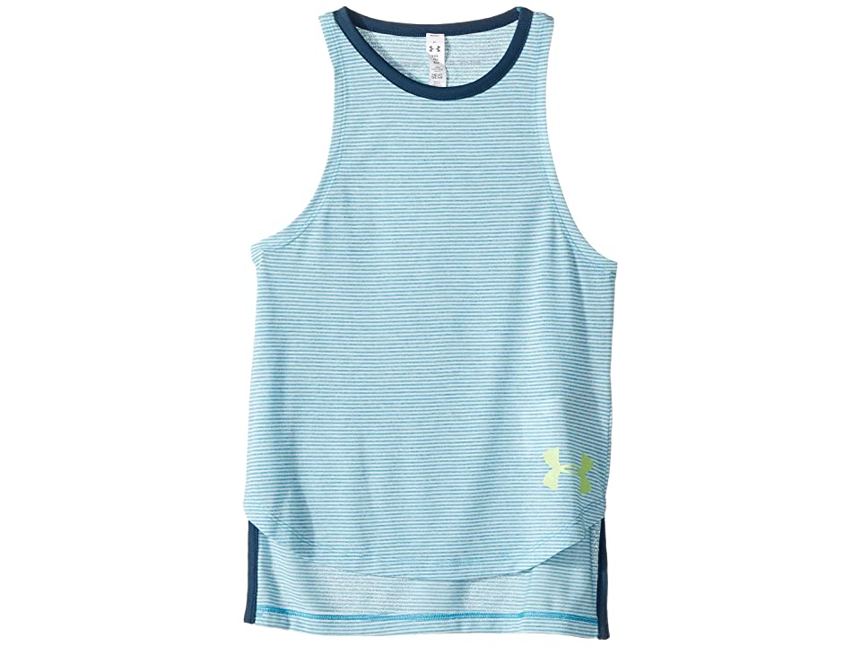 Under Armour Kids Threadborne Play Up Tank Top (Big Kids) (Blue Shift/True Ink/Quirky Lime) Girl's Sleeveless
