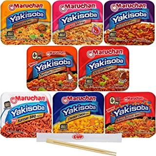 Maruchan Yakisoba Variety, 8 Different Flavors, Single Serving Home-style Japanese Noodles with By The Cup Chopsticks