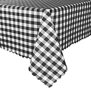 TUBEROSE Black and White Checkered Rectangle Table Cloth - Stain Resistant Waterproof Picnic Gingham Tablecloth for Outdoor Indoor, 60 x 84 Inch