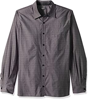 Men's Big and Tall Never Tuck Long Sleeve Button Down Print Shirt